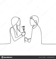 Concept Romantic Couple Love Continuous Line Drawing Vector