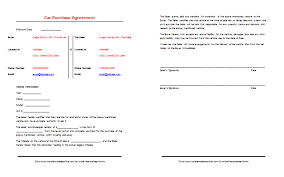 Sale Agreement Template For Car Ukranagdiffusion Cool Auto Purchase Agreement Template