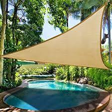 16.5' Triangle Sun Shade Sail Patio Deck Beach Garden Yard Outdoor Canopy  Cover Uv Blocking