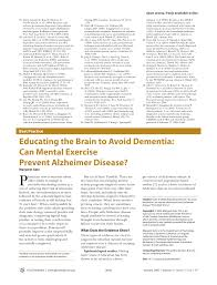 Educating The Brain To Avoid Dementia Can Mental Exercise Prevent