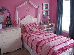 Amazing Teenage Girls Bedroom Decorating Ideas With White Wooden Princess  Bed Added Pink Cover Set As Well As White Nightstands Also Pink Wall  Painted Color ...
