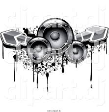 music speakers clipart. vector clipart of music speakers with arrows and grunge