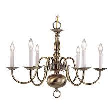 livex lighting williamsburg 24 in 6 light antique br candle