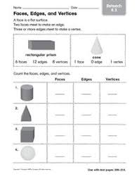 Solid Figures Faces Edges Vertices Chart Faces Edges And Vertices Reteach Worksheet For 4th 5th