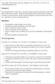 Sample Resume For Inventory Control Clerk