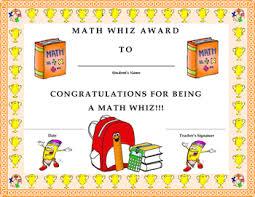 Kids Award Certificate Math Whiz Award Certificate Kids Will Love It By Twin Business
