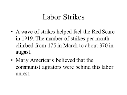 Red Scare And Labor Strikes Chart Answers
