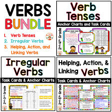 Verb Tenses Irregular Verbs And Helping Action And Linking Verbs Bundle