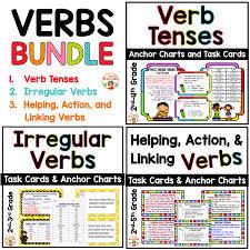 Verb Tense Anchor Chart Verb Tenses Irregular Verbs And Helping Action And Linking Verbs Bundle
