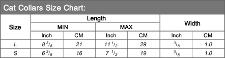 Collar Size Chart Size Charts Petsoo Com