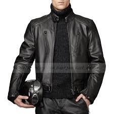 men s motorcycle riding lambskin black leather jacket