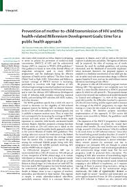 prevention of mother to child transmission of hiv and the health  first page of article