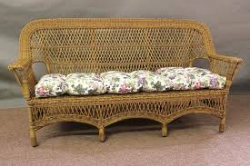 Antique Heywood Wakefield Style Green Wicker Sofa and Arm Chair