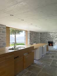 Stone Floor Kitchen Applied Wooden Kitchen Island Also Table Among Stone Floor Hupehome