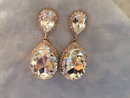 rose gold swarovski crystal embellished teardrop earrings images of