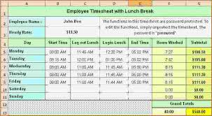 timecard with lunch breaks timesheet calculator with lunch break excel expin franklinfire co