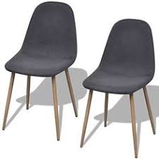 retro dining chairs set fabric gray kitchen furniture home office visitor chair