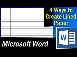 4 Easy Ways To Create Lined Paper In Ms Word Microsoft Word Tutorial