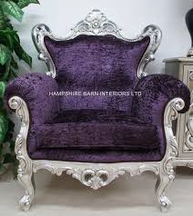 rococo silver leaf purple crushed velvet louis huge arm chair home diva