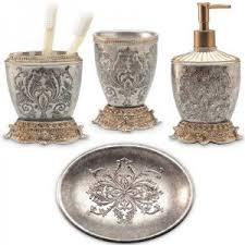 bathroom accessories sets silver. Lux Damask 4 Piece Bath Accessory Set (Antique Silver / Copper . Bathroom Accessories Sets