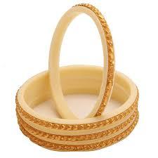 Bengali Gold Shakha Design Buy Minabazar Micro Gold Plated White Bengali Shakha Bangles