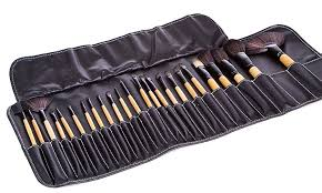24 pcs professional makeup brushes set natural cosmetic brush set with bamboo handle design with pouch case