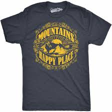Hiking T Shirt Design Happy Place Mountains T Shirt Outdoor Hiking Tee Men