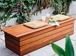 Plans For Deck Bench Which Allows Storage Space For Seat Cushions Wood Bench With Storage Plans