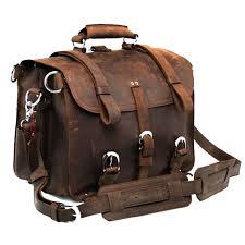 polare men s full grain leather 16 briefcase shoulder messenger bag fit 15 6