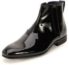 salvatore ferragamo mister patent leather gore chelsea boot black