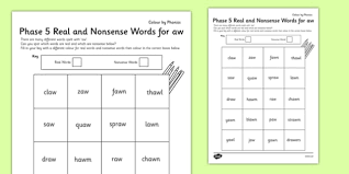 National curriculum objective english y1: Phase 5 Aw Words Worksheet Real And Fake Words Colouring