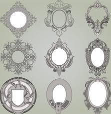 9 ornate vintage scroll frames vector set
