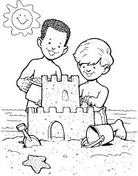 kids at the beach clipart black and white. Interesting Beach Sandcastle Clipart Black And White  Gallery Free Coloring Pages Of  Sandcastle To Kids At The Beach E