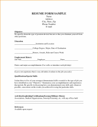 11 Resume Form For Job Application Basic Job Appication Letter