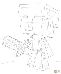Small Picture Minecraft Steve Diamond Armor Coloring Page Free Printable