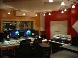 studio track lighting. track lighting for home music recording studio design with red wall and white