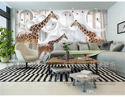 wallpaper for office wall. Unique 3D View Giraffe Photo Wallpaper Cute Animal Wall Mural Art  Decor Paper Children\u0027s Room Wallpaper For Office Wall H