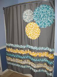 shower curtain custom made ruffles and flowers designer fabric gray white teal aqua turquoise yellow chevron zig zag damask grey