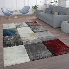 Wohnzimmer Teppich Grau Rot
