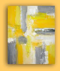 art original yellow and gray acrylic painting by orabirenbaumart