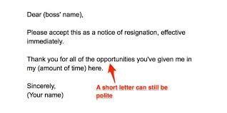Brief Letter Of Resignation How To Write A Resignation Letter Business Insider