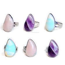 natural crystal tear waterdrop stone ring quartz healing chakra gemstone rings