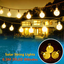 Us 1468 Solar Powered Led Outdoor String Lights 6m 30leds Crystal Ball Globe Fairy Strip Lights For Outside Garden Patio Party Christmas In Led