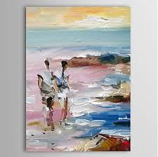 lovers walking alone beach seascape oil painting wall art modern canvas art wall decor on beach framed canvas wall art with lovers walking alone beach seascape oil painting wall art modern
