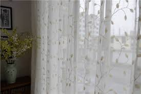 french country embroidered leaves white sheer curtain customized curtains