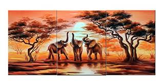 amoy art 3 piece wall art african elephants canvas prints on canvas wall art landscape pictures paintings artwork stretched and framed for living room home  on african elephant canvas wall art with amoy art 3 piece wall art african elephants canvas prints on canvas