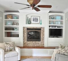 cg family room white built ins she painted her built ins and whitewasher her fireplace
