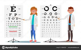 Ophthalmology Doctor Set Vector Female Male Medical Eye