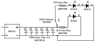 led circuits here s the schematic of a passenger car wired for lighting using a bridge rectifier and 600icircfrac14f of capacitance to ensure flicker polarity stable dc is