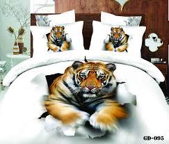 7pcs 3d white tiger animal print bedding sets california king quilt duvet cover ed bed designer